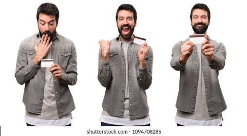 Set of Handsome man with beard holding a credit card