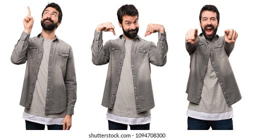 Set of Handsome man with beard pointing down, front annd up