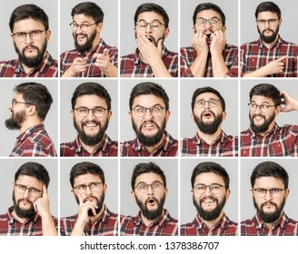 Set of handsome man with different emotions and gestures. Using mobile phone. Isolated over gray background