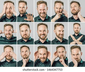 Set of handsome man with different emotions and gestures isolated over gray background