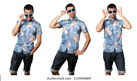 Set of Handsome man with flower shirt with sunglasses