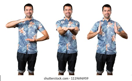 Set of Handsome man with flower shirt holding something