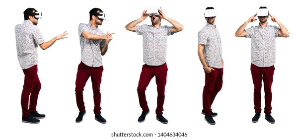 Set of Handsome man with glasses using VR glasses