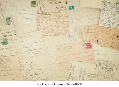 Set of handwritten antique letters old vintage background, retro toned