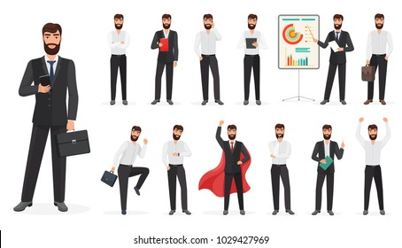 Set of happy businessman character with different poses and actions. Constructor cartoon  illustration.