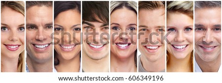 set happy laughing people smiling faces stock photo edit now