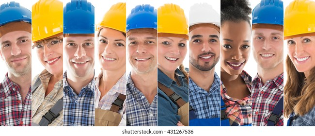 Set Of Happy Male And Female Construction Workers