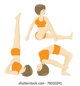 Set of happy woman practicing yoga postures