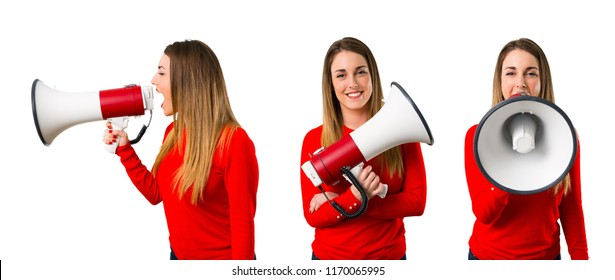 Set of Happy Young blonde woman holding a megaphone