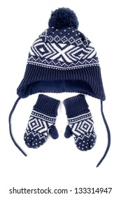 set of hat and mittens for children
