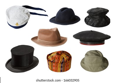 Set of hats isolated on white background