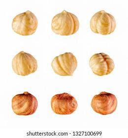 set of hazelnut isolated on white background
