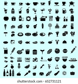 Set of healthy food and drink black icon and pictogram. Isolated kitchen icon for restaurant
