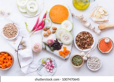 Set of healthy vegetarian food ingredients, plant based food concept.  top view.