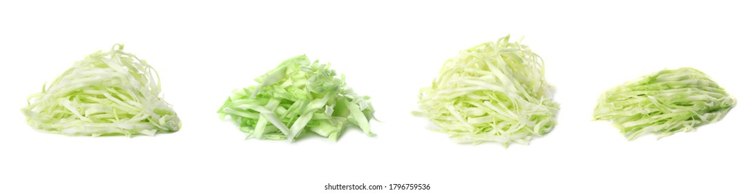 Set with heaps of chopped cabbage on white background. Banner design