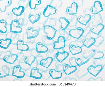 set of hearts of blue color of the different size. St. Valentine's Day, Valentine's Day card