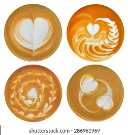 Set of heart-shaped Latte Art, coffee isolated on white background