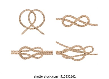 Set of hemp rope knot isolated on white background. Nautical rope knot set. Set of rope knots.