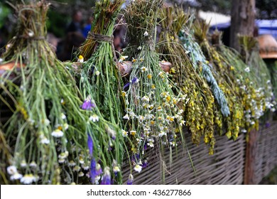 Set of herbs hanging and drying. Dry herbs. Harvesting herbs, drying process. Chamomile, sage