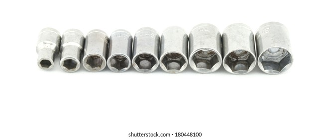Set of hex wrench use for minor repair arranged on white background and copy space. Construction concepts photography.