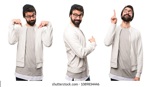 Set of Hipster man pointing back, up and down