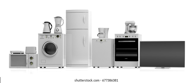 Set of home appliances on white background. 3d illustration
