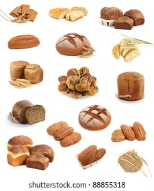 Set of homemade bread and stalks of wheat on a white background