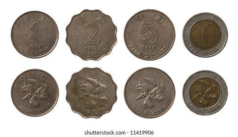 Set of Hong Kong coins isolated on white