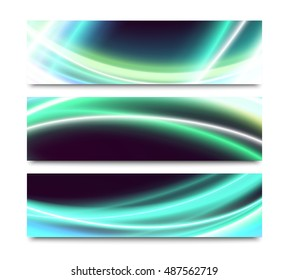 Set of horizontal banners with abstract special curved light effects on black background. Colorful website header or flyer templates collection isolated on white