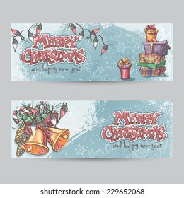 Set of horizontal Christmas cards with flashlights, bells and gifts