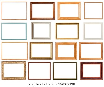 set of horizontal picture frames with cutout canvas isolated on white background