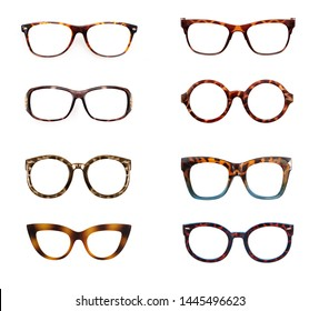 Set of horn-rimmed glasses isolated on white background for applying on a portrait