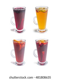 set of hot red mulled wine isolated on white background