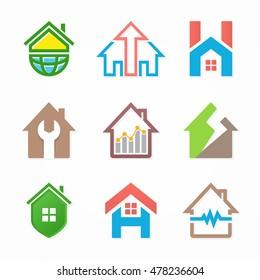 Set of house logo design template.