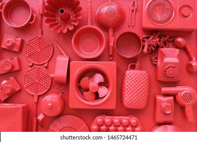 set of household items. Illustration of the concept in one color