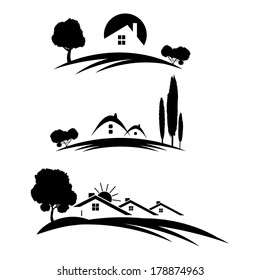 Set of houses icons for real estate business with trees on white background.
