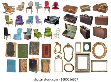 Set of a huge amount gorgeous old vintage items. Antique armchairs, vintage suitcases, old books, beautiful frames for paintings and mirrors. Isolated on white background.