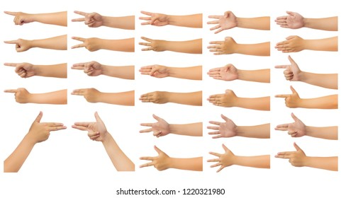 Set of human hand in reach out one's hand and counting numbers, gun or pointing sign gesture isolate on white background with clipping path, Low contrast for retouch or graphic design