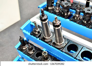 Set of hydraulic chucks drilling for cnc turning machine. Heavy industry concept