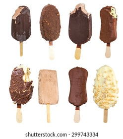 Set of ice cream on a stick isolated on white background