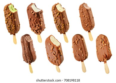 Set of ice cream popsicles with nuts chocolate covered isolated on white background