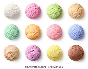 Set of ice cream scoops of different colors and flavours isolated on white background, top view
