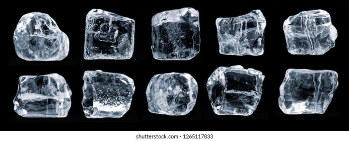 Set of ice cubes, isolated on black background,  Clipping path for each piece included.