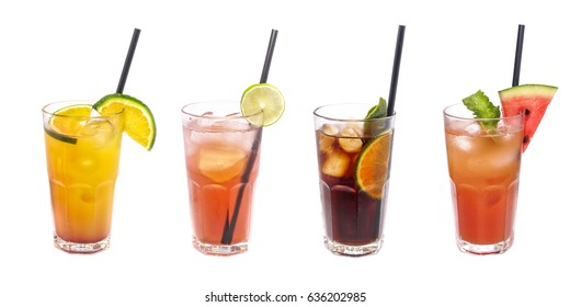 Set of iced cocktails: with watermelon, orange, lime decoration.
