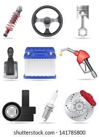 set icons of car parts illustration isolated on white background
