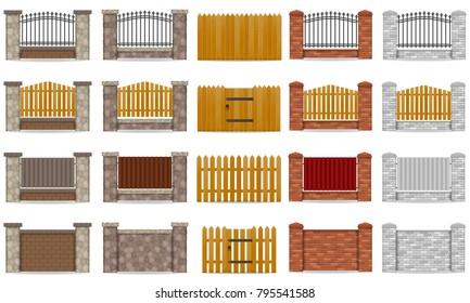 set icons fence made from wooden stone brick illustration isolated on white background