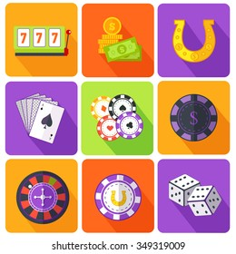 Set of icons gambling games flat style. Casino and slot machine, poker game, dice and roulette, las vegas, vegas and playing cards, win and play, gamble leisure, fortune and risk. Raster version