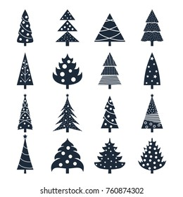 Set of icons of silhouettes of Christmas trees decorated with balls and garlands. New Year. Design for banners, cards, stickers, postcards.