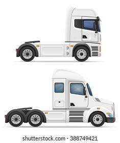 set icons trucks semi trailer illustration isolated on white background
