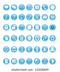 Set of icons for the Web in blue color